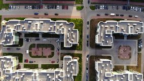 Fly over modern housing complex. Dwelling and streets from top stock footage