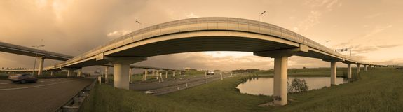 Fly-over in the Netherlands. Main crossing in the Netherlands near Ridderkerk Royalty Free Stock Image