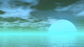 Fly over the ocean - 3D render. Quiet fly upon the big ocean by beautiful day with little clouds vector illustration