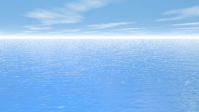 Fly over the ocean - 3D render. Quiet fly upon the big ocean by beautiful day with little clouds royalty free illustration