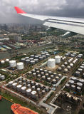 Fly over oil refinery tanks Stock Image