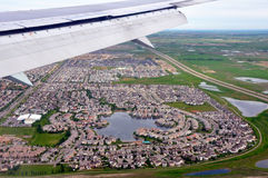 Fly over residential area Royalty Free Stock Photo