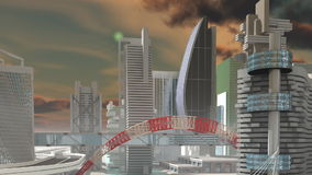 Fly over Sci-Fi city Royalty Free Stock Image