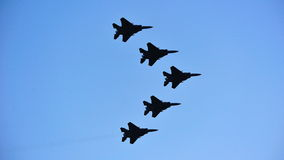 Fly past of F-15SG fighter jets Royalty Free Stock Photography