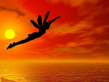 Fly past the Sun. Fairy flying past the sun Royalty Free Stock Photo