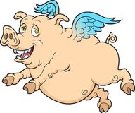 Fly Pig. This is a  image done in multiple layers for easy editing Stock Photo