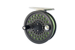 Fly Reel. For a 4 weight fishing rod, isolated Royalty Free Stock Images