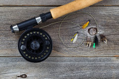Fly Reel with Assorted Flies Stock Image