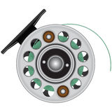 Fly reel with fishing line. Vector illustration stock illustration