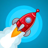 Fly rocket on blue sky Stock Image