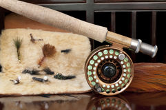 Fly Rod and Flies. Fly Rod being prepared for a day of fly fishing Stock Photography