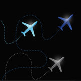 Fly routes and airplanes. illustration Royalty Free Stock Photos