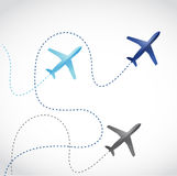 Fly routes and airplanes. illustration design Royalty Free Stock Images