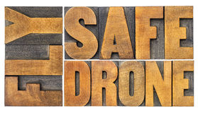 Fly safe drone word abstract in wood type Stock Photography