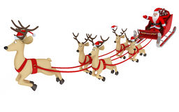 Fly santa and deep Royalty Free Stock Images