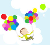 Fly in the sky. Take the balloons and fly to the sky Stock Photos