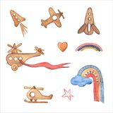 Fly in the sky Watercolor Clipart. Kids Wooden toys. airplane, helicopter, rocket, hot air balloon, rainbow. Nursery