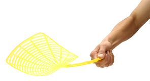 Fly Swat Swatter Flyswatter. Hand using a fly swatter isolated on white royalty free stock images