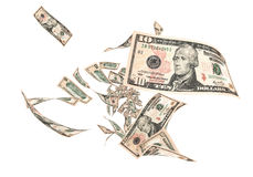 Fly Ten dollar banknotes Royalty Free Stock Photography