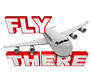Fly There - Jet Airplane and Travel Words. A jet airplane flies above the words Fly There, symbolizing the ability to use air travel to get to your destination stock illustration
