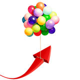 Fly to economic success. Arrow raised by flying balloons. fly to economic success stock illustration