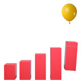 Fly to economic success. Statistics raised by flying balloon. fly to economic success royalty free illustration