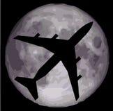 Night flight. jet plane above Earth Stock Image