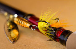 Fly to tee spinner lures close-u Royalty Free Stock Images
