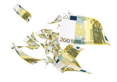 Fly Two hundred euro banknotes. Close-up (isolated on white and clipping path Royalty Free Stock Image