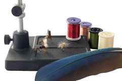 Fly Tying. Equipment in preparation of going fishing Royalty Free Stock Images