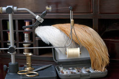 Fly Tying. Materials and equipment for making trout flies Royalty Free Stock Images