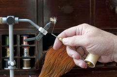 Fly Tying with Hand. Tying a fly using thread and bobbin Royalty Free Stock Image