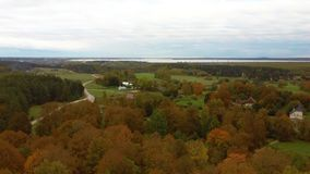 Fly  Up Above Doles Sala, the Second Largest Island in Latvia. This is a Peninsula in the Daugava River, Near the Borders of Riga.