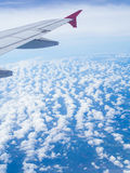 Fly. View of sky outside the airplane Stock Photos