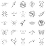 Fly voyage icons set, outline style. Fly voyage icons set. Outline set of 25 fly voyage vector icons for web isolated on white background Stock Image