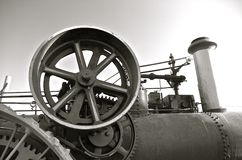 Fly wheel of a steam engine (black and white Stock Photos