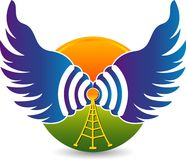 Fly wi-fi logo. Illustration art of a fly wi-fi logo with isolated background Royalty Free Stock Photos