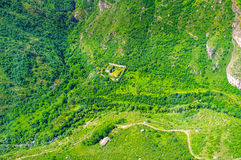 The fly on Wings of Tatev. The ride on Wings of Tatev cableway over the Great Hermitage of Tatev (Tatevi Mets Anapat), located in valley of Vorotan river, Syunik Stock Images