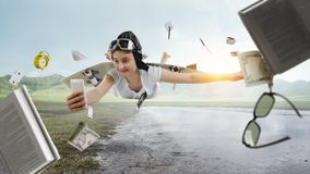 Free Fly With Self-made Plane Wing Stock Photography - 160519762