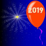 Happy New Year 2019. A flyaway red balloon with a skyrocket explosion with fallout and the legend 2019 Stock Photography