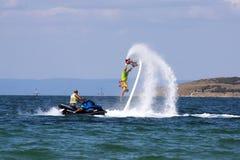 Flyboard冒险 免版税图库摄影