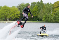 Flyboard demonstration Royalty Free Stock Image