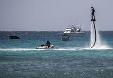 Flyboard en Santa Maria, sal, Cabo Verde Fotografía de archivo libre de regalías