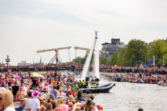 A flyboard man at the Magere Brug in Amsterdam Royalty Free Stock Images