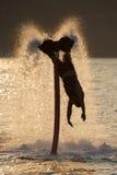 Flyboarder elasticiteter in mot vågor efter tillbaka flip Royaltyfria Bilder