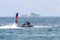 Flyboarding在巴拿马 免版税库存照片