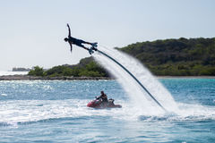 Flyboarding in the Caribbean. Flyboarding at Curacao, Dutch Antilles, Island in the Caribbean Stock Photo