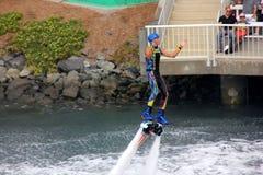 Flyboarding at Cirque De La Mer Show, SeaWorld, San Diego, California Royalty Free Stock Photos