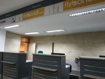 Flybondi check in counters. Flybondi check counters iguazu airport  international travel argentina royalty free stock photo