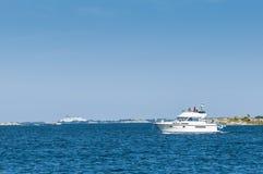 Flybridge motorboat Stockholm archipelago Stock Image